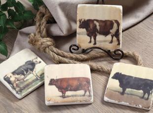 【纽约下城公园】奶牛做旧图案石膏杯垫/盘垫(一套四个)现货,杯子,