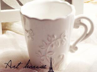 出口欧美星巴克风复古浮雕花纹陶瓷杯 奶杯 杯子 水杯 外贸尾单,杯子,