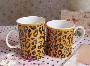 外贸陶瓷茶具水花茶牛奶茶早餐杯子情侣对杯新骨瓷随手马克豹纹杯,杯子,