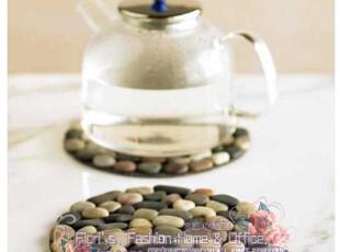 【Beach Stone】圆形雨花石杯垫/隔热垫/锅垫/碗垫/装饰-彩色,杯子,