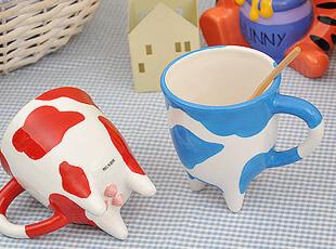可爱卡通奶牛 陶瓷 马克杯 水杯 牛奶杯 创意杯子 外贸 情侣杯,杯子,