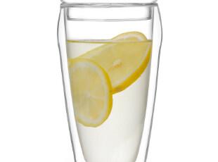 左茗右器 透明玻璃杯 双层杯子 带盖 随手杯 隔热水杯 茶杯 400ML,杯子,