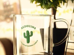 简约插画设计 透明杯牛奶杯咖啡杯水杯 耐高温环保 六款选,杯子,