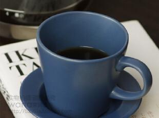 微瑕 哑光蓝色咖啡杯 杯碟一套,杯子,