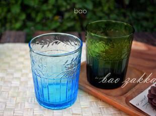 BAO ZAKKA 杂货 欧式复古 枝叶纹刻花 玻璃水杯 冷饮杯 2款可选,杯子,