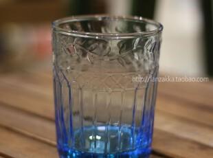Fan's zakka杂货 复古欧式刻花浮雕玻璃果汁杯 水杯 酒杯(蓝色),杯子,