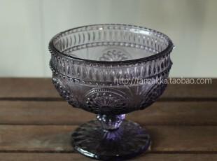 Fan's zakka杂货 复古欧式刻花玻璃冰激凌杯 甜品杯(太阳花紫色),杯子,