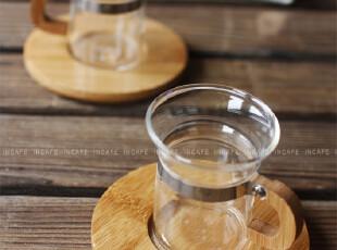 INCAFE | 竹柄杯 玻璃杯 茶杯 茶具 水杯 (杯垫+杯子)套,杯子,