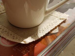 【山鱼良品】棉线花边 亚麻杯垫,杯子,