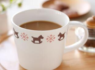 U-PICK原品生活 十字绣陶瓷水杯 咖啡杯--木马  果汁杯 创意,杯子,