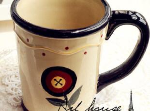 出口欧美 田园风陶瓷水杯 咖啡杯 奶杯外贸手绘陶瓷 出口余单品,杯子,
