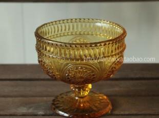 Fan's zakka杂货复古欧式刻花玻璃冰激凌杯 甜品杯(太阳花琥珀色),杯子,