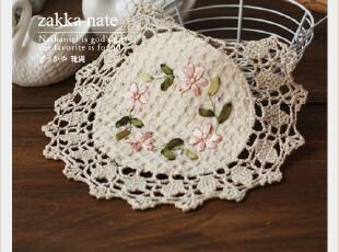 zakka杂货 田园纯棉绣花杯垫 手工餐垫 花朵和叶子 拍摄道具,杯子,