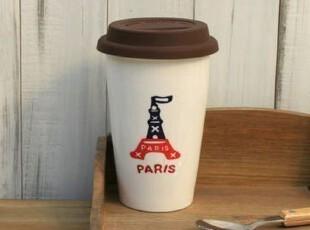 星巴克风 创意陶瓷 巴黎铁塔 双层隔热杯 办公室水杯 咖啡杯子,杯子,