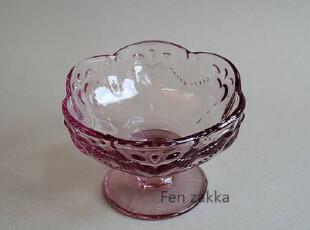 FEN ZAKKA 杂货 出口日本浮雕玻璃甜品杯 冰激凌杯(粉紫色),杯子,