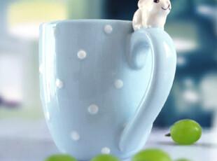素时间 田园慢生活 兔仔水玉点杯,杯子,