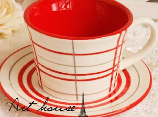 出口欧美星巴克风红格子复古陶瓷咖啡杯碟 马克杯 奶杯 茶杯 杯子,杯子,