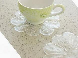 韩国正品代购 可爱精致花瓣蕾丝杯垫/餐垫 碗垫 4片装,杯子,