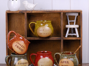 杯子zakka杂货复古做旧外贸字母陶瓷英文咖啡杯花器箴言杯早餐杯,杯子,