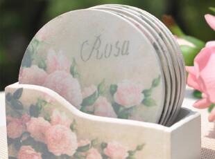 新品! 外贸欧式田园 木制杯垫 隔热垫 买6个就送杯垫收纳盒,杯子,