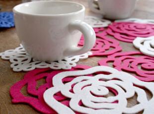 『韩国网站代购』红玫瑰与白玫瑰 浪漫杯垫4件组,杯子,