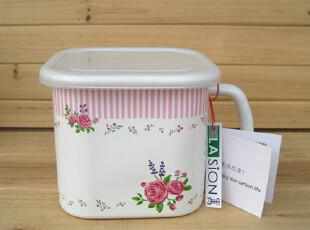 LASION 新品 正品 英伦玫瑰 搪瓷保鲜盒 密封杯 泡面杯,杯子,