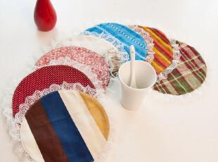 超值!纯棉蕾丝花边餐垫 桌垫 杯垫 圆杯垫 花色随机 直径15*15cm,杯子,