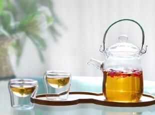 送礼良品 纯手工玻璃  耐热玻璃 花草茶具套装 1壶2杯 纤细提梁,杯子,