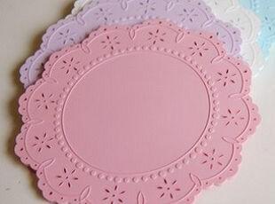 韩国进口代购 甜美糖果色蕾丝硅胶杯垫/唯美浪漫餐垫,杯子,
