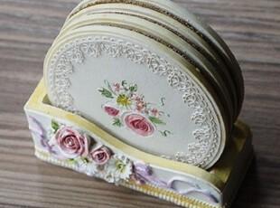 ★公主梦想★韩国家居*Lovely Rose*可爱玫瑰杯垫套装W2109,杯子,