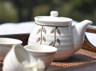 带柄功夫茶具 泥印手绘花纹茶具 手制茶器 原产台湾 一壶四杯,杯子,