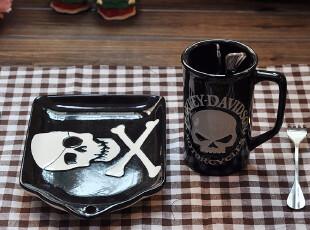 【热卖】哈雷戴维森黑色骷髅 杯碟 套装 2件套 星巴克 HARLEY,杯子,