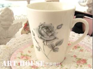 出口欧美外贸清新手绘玫瑰陶瓷水杯 花之语 咖啡杯 陶瓷杯子 奶杯,杯子,
