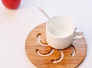 中式圆形木制杯垫 茶杯垫 镂空杯垫 碗垫 锅垫 茶具配件 直径17CM,杯子,