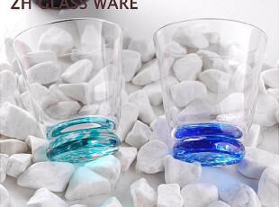 中恒 英国DB原单杯子【水晶玻璃(蓝色)圆点随手杯】玻璃杯,杯子,