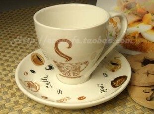 亿客咖啡 日韩简约风 优质陶瓷咖啡杯-咖啡时刻 杯碟 套装,杯子,