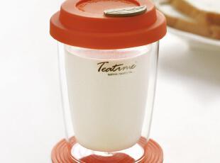 teatime奥比水杯 儿童用双层玻璃保温隔热杯 配创意杯盖隔热杯垫,杯子,