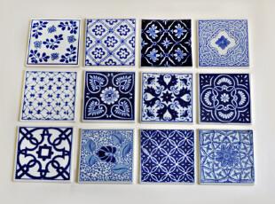 西洋风青花瓷片杯垫 出口青花瓷杯垫墙贴 中式混搭家装,杯子,