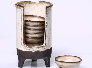 手工陶艺/禅意东方/越前烧陶艺普洱茶具/养生杯筒 带杯子 杯托,杯子,
