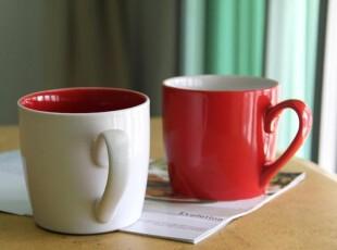 外贸陶瓷餐具 星巴克风格 陶瓷红杯 白色杯 情侣对杯 陶瓷杯 杯子,杯子,