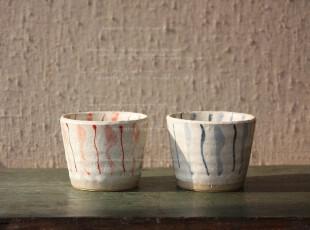 日本制    情侣手工陶制对杯,杯子,