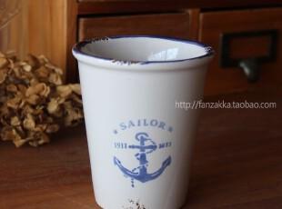 Fan's zakka杂货  陶瓷仿搪瓷海锚陶瓷直杯 水杯,杯子,