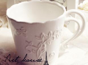 出口欧美星巴克风复古浮雕花纹陶瓷杯 奶杯 杯子  外贸尾单 大号,杯子,