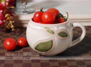 Kingda外贸陶瓷 瓷器 美式乡村的绿叶 手工杯 水杯 牛奶杯 咖啡杯,杯子,