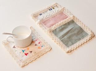 居家必备!纯棉布艺餐垫 隔热桌垫 杯垫 花色随机,杯子,