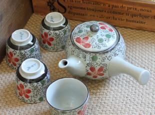 千度悠品 日式和风 陶瓷 红花 茶具套装 茶器 茶壶+4杯子 礼盒,杯子,