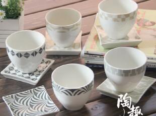 陶瓷无柄咖啡杯/茶杯/甜点杯 一杯一碟一勺  日本原单陶瓷,杯子,