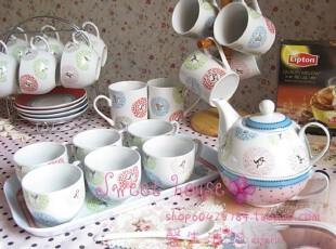 外贸新骨瓷英式下午茶结婚礼物水玉点快活鸟咖啡奶杯壶套装8件套,杯子,