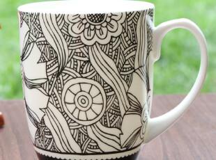 外贸原单手绘马克杯水杯咖啡杯子情侣杯创意杯子骨瓷杯陶瓷杯带盖,杯子,