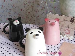 外贸彩绘陶瓷杯子情侣对杯水牛奶下午茶咖啡创意ZAKKA可爱动物杯,杯子,